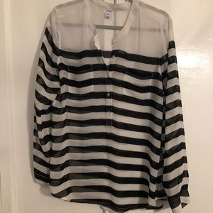 Old Navy white and black striped blouse